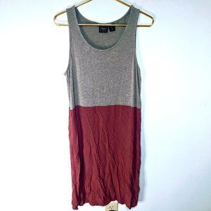 Marina Luna Grey Pink Sleeveless T-Shirt Dress L